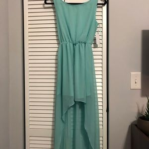 Teal High-lo cocktail dress